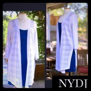 "NYDJ lightweight white sweater ""duster"" cardigan"